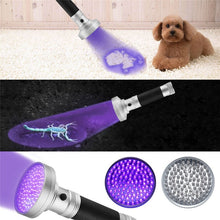 Load image into Gallery viewer, UV Flashlight Black light UV Lights 100 LED Ultraviolet Blacklight Aluminum Torch Light Detector for Pets Urine and Stains