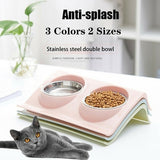 Double Bowls Raised Stand For Cat Pet Dog Puppy Non-Slip Splash Feeder Food Bowl