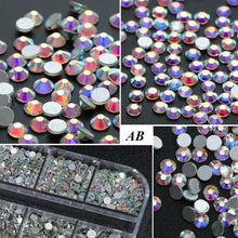 Load image into Gallery viewer, 1Box(12Grids/Box ) Crystal Rhinestone 3D Glitter Jewelry Diamond Beads Flat Back Rhinestone Nail Art Decors