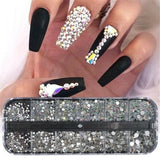 1Box(12Grids/Box ) Crystal Rhinestone 3D Glitter Jewelry Diamond Beads Flat Back Rhinestone Nail Art Decors