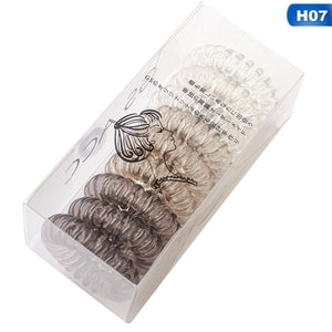 1 Box Gradient Color Elastic Spiral Coil Hair Ties Ponytail Holders Phone Cord Hair Ring Ropes