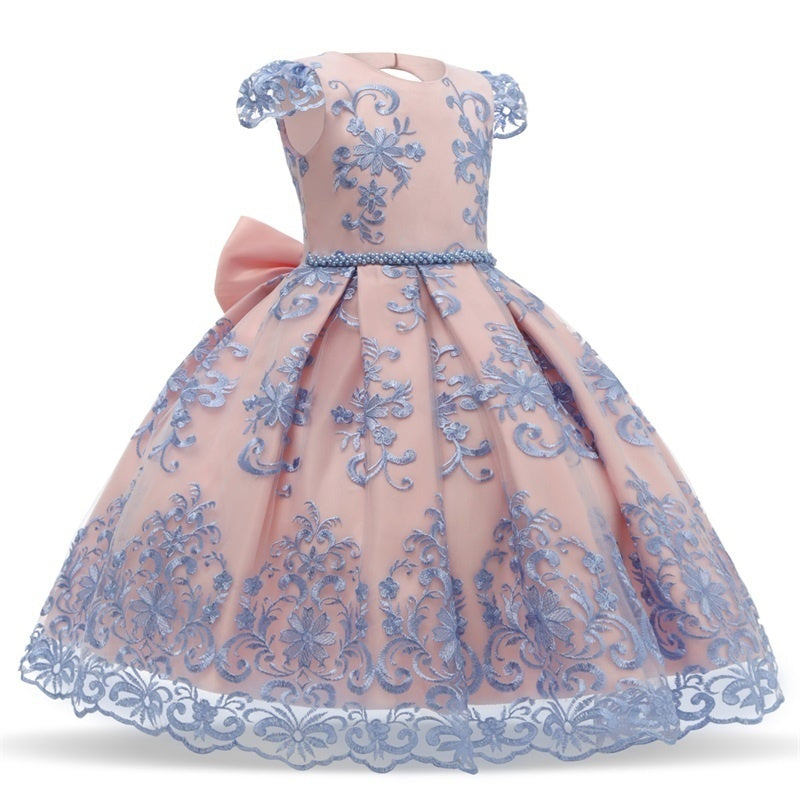 4-10 Years Girl Princess Dress Flower Embroidery Bowknot Tulle Tutu Dresses for Birthday Pageant Masquerade Halloween Wedding Formal Gowns