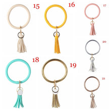 Load image into Gallery viewer, Unique Custom Circle Boho Bangle PU Leather Key Ring O-ring Bracelet Tassel Pendant Wristlet Keychains