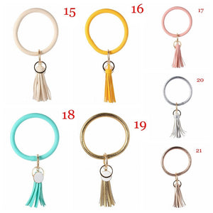 Unique Custom Circle Boho Bangle PU Leather Key Ring O-ring Bracelet Tassel Pendant Wristlet Keychains