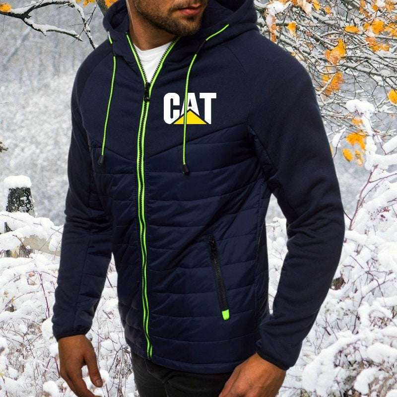 Winter Fashion Mens Caterpillar Zipper Jacket High Quality Sports Wear Coat Down Jacket Thickening Cotton Paded Coat