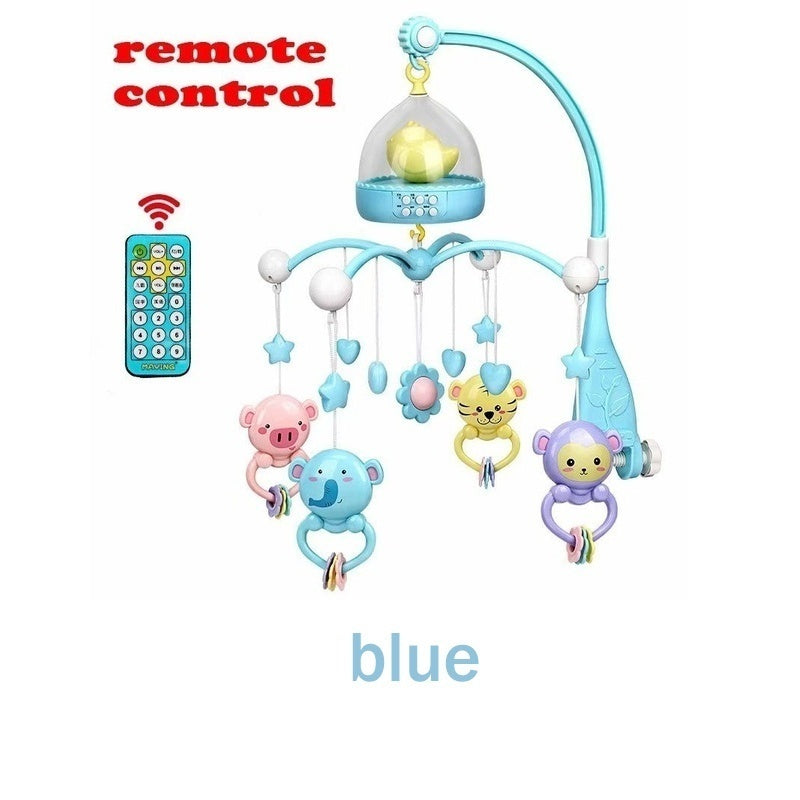Newborn baby remote bed bell 0-12 months cute music crib mobile baby toy smart timing / detachable teether