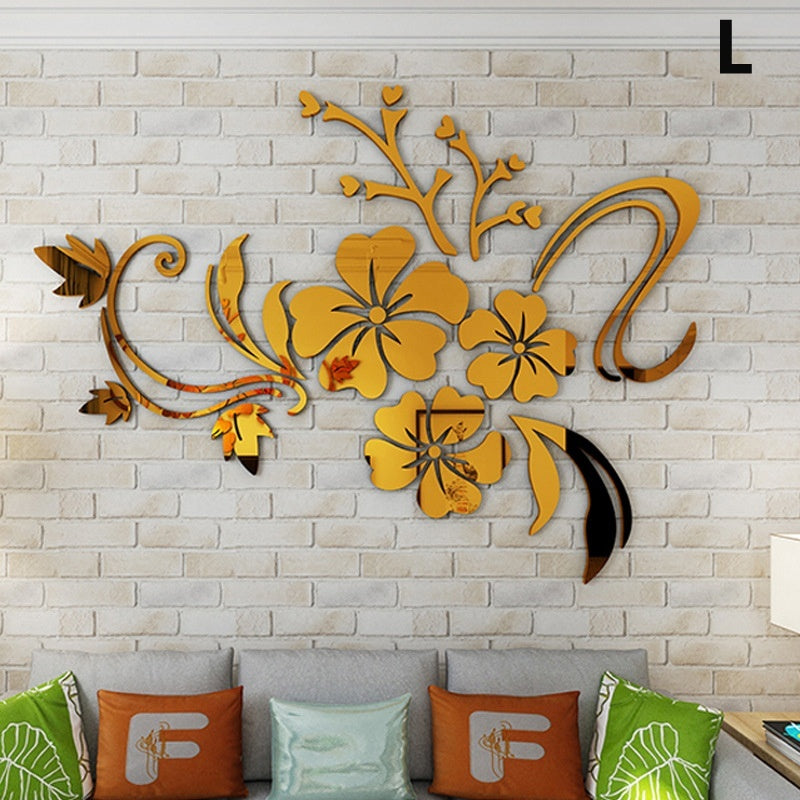 XS/S/M/L 3D Mirror Flower Round Removable Self Adhesive Wall Sticker For Room Kitchen Wallpaper Home Decor Art DIY