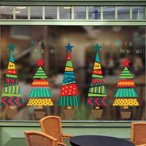 49x52cm Merry Christmas Tree Star Wall Stickers Home Decals Living Room Decorations DIY PVC Festival Window Decor