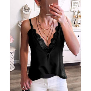 New Women Summer Fashion Deep V-Neck Lace Spaghetti Strap Tank Tops Casual Cool Sleeveless T-Shirts Party Club Beach Blouse Tops Fashion Lady Streetwear Plus Size S-3XL 6 Colors