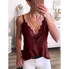 Load image into Gallery viewer, New Women Summer Fashion Deep V-Neck Lace Spaghetti Strap Tank Tops Casual Cool Sleeveless T-Shirts Party Club Beach Blouse Tops Fashion Lady Streetwear Plus Size S-3XL 6 Colors