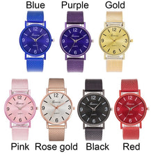 Load image into Gallery viewer, Stainless Steel Mesh Watch Ladies Unique Arabic Numbers Watches Casual Women Men Quartz Wristwatches