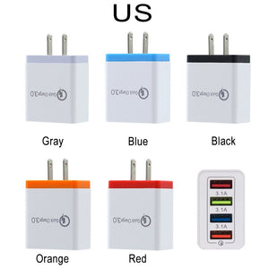 Hot   Universal 4 Ports 30w Quick Charge 3.0 Fast USB Wall Charger for Apple Watch USB Charger Adapter USB US EU (5colors)