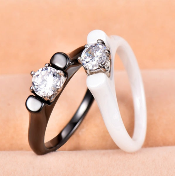 Luxury Female White Black Ceramic Ring with Crystal Zircon Stone Vintage Titanium Steel Wedding Rings for Women Fashion Jewelry