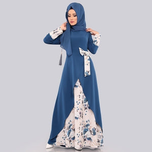Muslim Islamic Abaya Robe Women Floral Bowknot Dress Autumn Long Sleeve Dress Casual Vintage Floor Length Dress