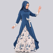 Load image into Gallery viewer, Muslim Islamic Abaya Robe Women Floral Bowknot Dress Autumn Long Sleeve Dress Casual Vintage Floor Length Dress