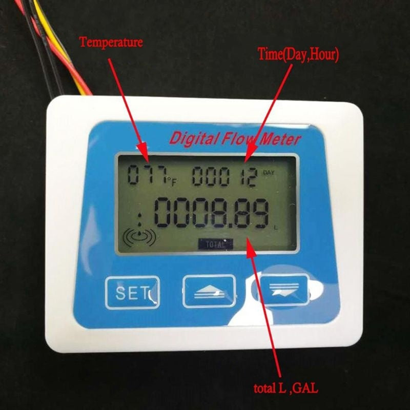 Digital Lcd Display Water Flow Sensor Meter Flowmeter Rotameter Temperature MOU