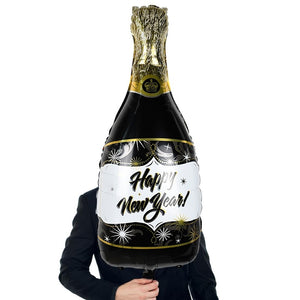 4Pcs/set Black Gold Happy New Year Round Star Wine Bottle Foil Balloon Inflatable Helium Balloon New Year Party Decoration 2020
