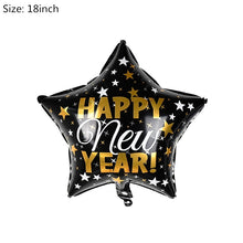 Load image into Gallery viewer, 4Pcs/set Black Gold Happy New Year Round Star Wine Bottle Foil Balloon Inflatable Helium Balloon New Year Party Decoration 2020