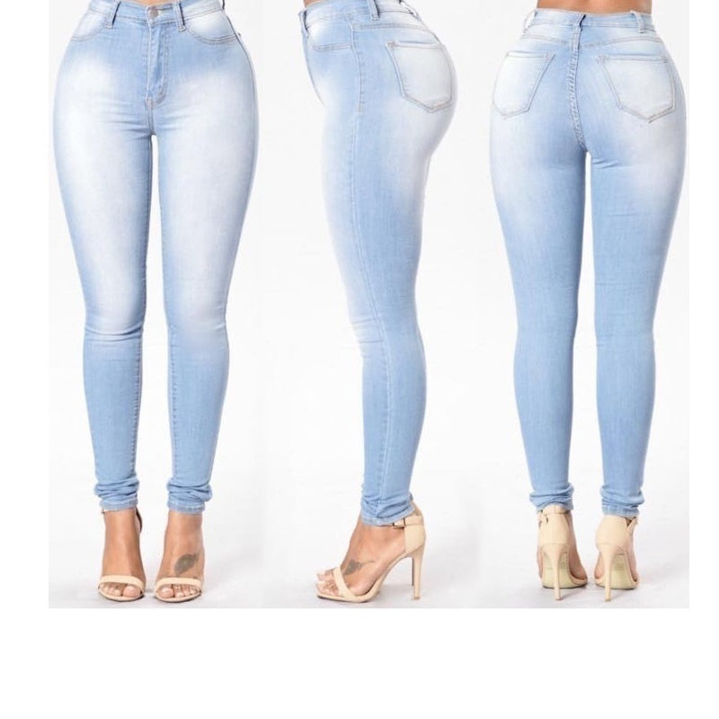 Women's High Waist Elastic Jeans Tight Pencil Pants