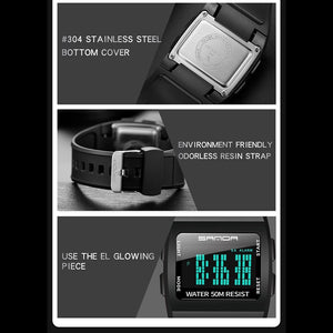 SANDA LED Digital WristWatches Man Quartz Sport Watches Black Smart Clocks Fashion Cool Men Electronic Watch