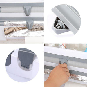 13 IN 1 Kitchen Holder Rack Cling Film Tin Foil Paper Roll Dispenser Towel Storage Holder Rack,with Cling Film Cutting Tools,Wall Mounted