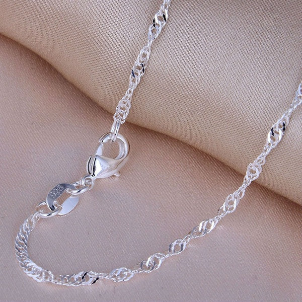16-30 Inches Silver Chain Long Chain Necklace 925 Sterling Silver Filled  Clavicle Chain 2MM Water Wave Chain Necklaces for Women
