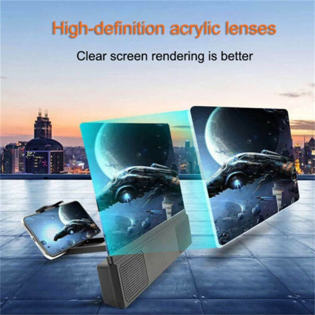 Mobile Phone HD Projection 8/12 Inch Screen Magnifier Bracket Enlarge With Speaker Suitable for all smartphones