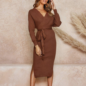 Women Fashion Knitted Long Dress Causal Long Sleeve Knee Length Backless Dress