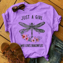 Load image into Gallery viewer, Women Cotton Round Neck Dragonfly Print T-shirts Short Sleeve Summer Shirt