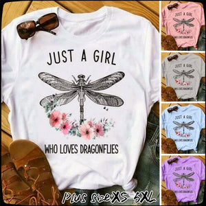 Women Cotton Round Neck Dragonfly Print T-shirts Short Sleeve Summer Shirt