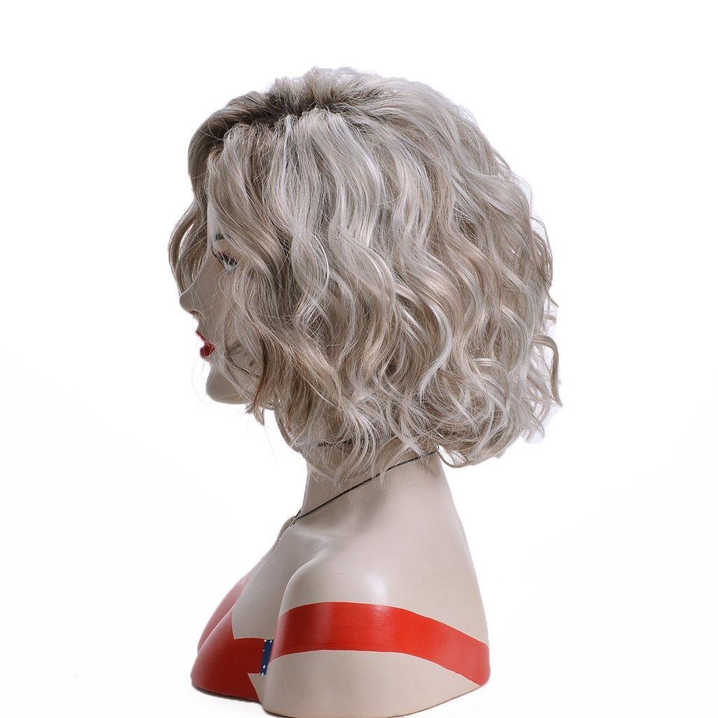 Trendy Curly Wigs for Women Silver Color Short Curly Synthetic Heat Resistant Fiber Hair Replacement  Wig Cosplay Party Costume Wig Natural Water Wave Curly Wigs for Women Daily Wera