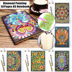 50/64 Pages Office Supplies Painting Gift Rhinestone Diamond Painting Notebook A5 Notebook DIY Diamond Painting Kit 5D Diamond Embroidery Full Rhinestone Cross Stitch Diamond Painting