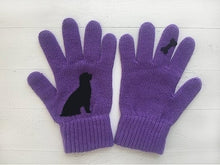 Load image into Gallery viewer, Women Fashion Gloves Cute Animal Printed Gloves Knitted Full Finger Gloves Winter Warm Women Gloves One Size