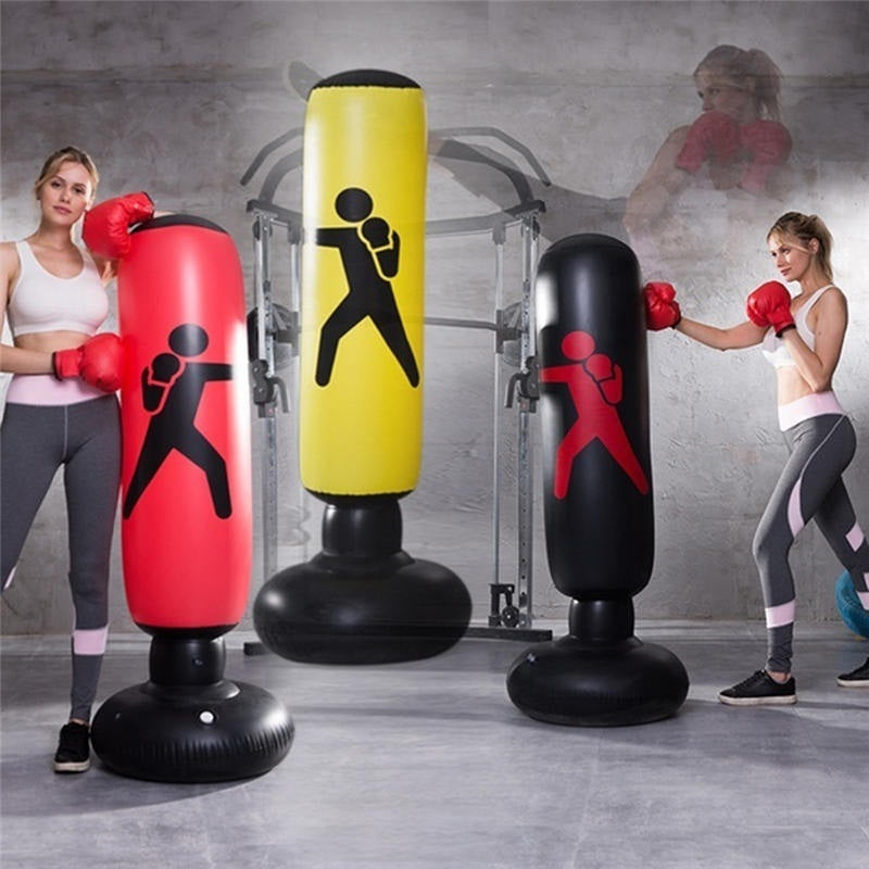 1.6M Inflatable Thickening Boxing Tumbler Bag PVC Boxing Pillar Tumbler Fight Column Stress Punch Bag Heavy Tower Bag Fitness