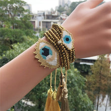 Load image into Gallery viewer, New Boho MIYUKI Bracelet Set Evil Eye Bracelet Hamsa Hand Jewelry Pulseras Crystal for Women Tassel Bracelet