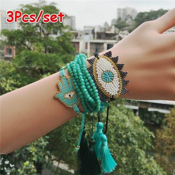 New Boho MIYUKI Bracelet Set Evil Eye Bracelet Hamsa Hand Jewelry Pulseras Crystal for Women Tassel Bracelet