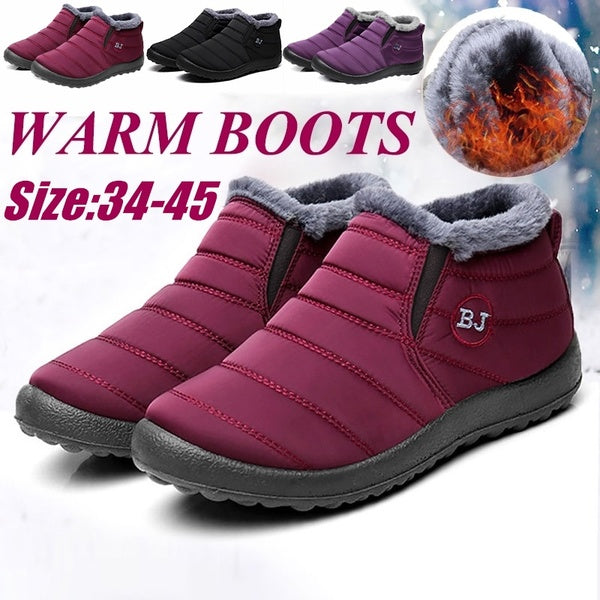 Hot Women Winter Thicken Warm Boots Wool Cotton Shoes Ankle Boots Waterproof Bottes