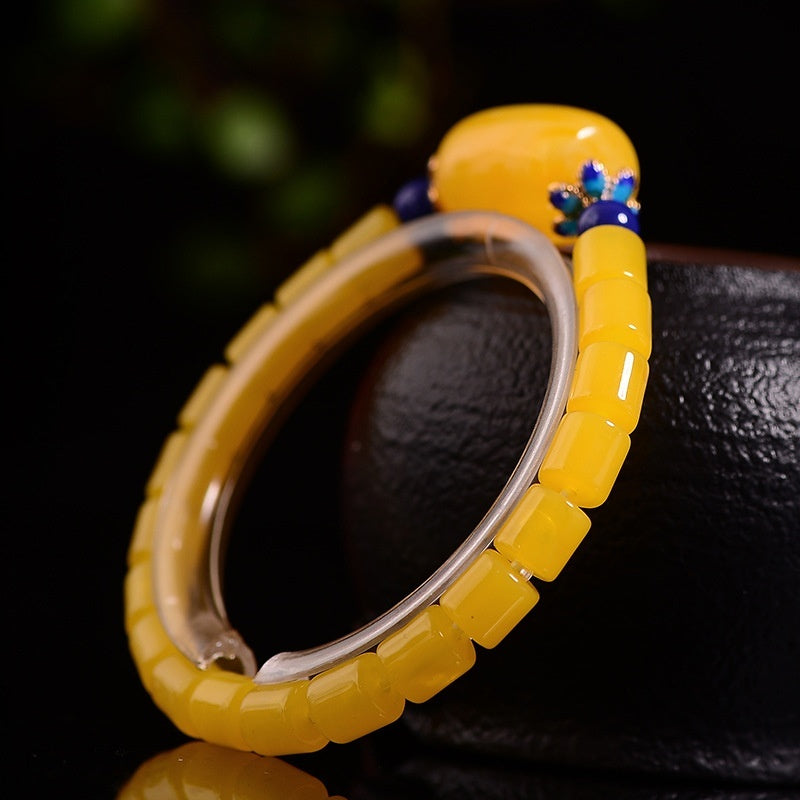 Juyuan Pavilion Baltic Natural Second Generation Amber Honey Wax Chicken Oil Yellow Barrel Bead Single Ring Women's Handset Bracelet