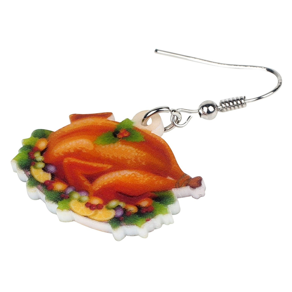 Acrylic Christmas Turkey Food Earrings Drop Dangle Anime Jewelry For Girls Teens Charm Gift Hot Sale Festival Decorations Accessory