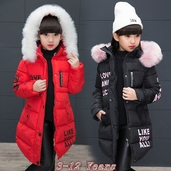 Kids Girl Winter Outfits Cute Fur Collar Medium Length Down Parka Coats Little Girl Keep Warm Hooded Windbreaker Jackets Thickening Outwear (3-12 Years)