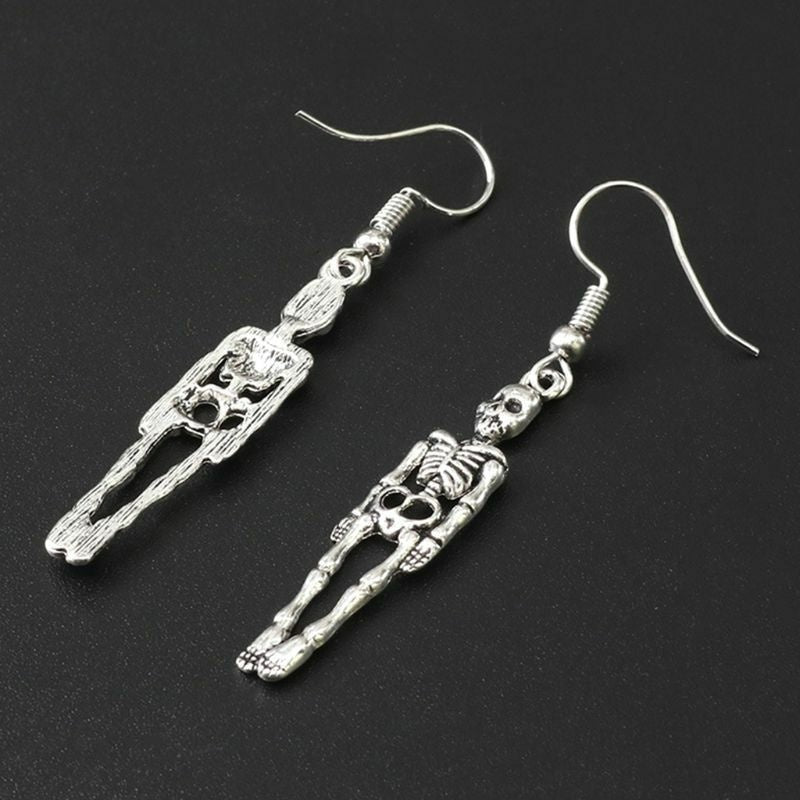 2 Pairs Punk Style Cool Skeleton Drop Earrings for Halloween Jewelry Gifts