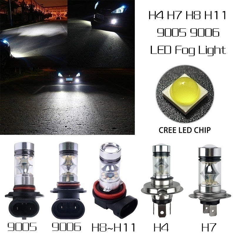 2pcs H7 H4 High Power 100W 6000K Led Lights White Car Driving DRL Fog Lamp Bulb Plug and Play Fog Bulb Direct Replacement