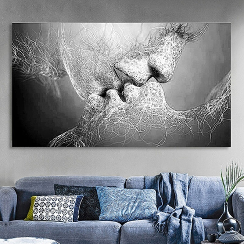 New Fashion Black & White Love Kiss Abstract Art on Canvas Painting Wall Art Picture Print Home Decor (Without Frame)
