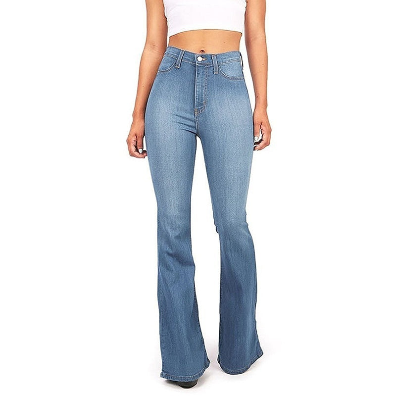 Womens High Waisted Bell Bottom Jeans Flare Stretchy Denim Pants Blue Long Jeans S-2XL