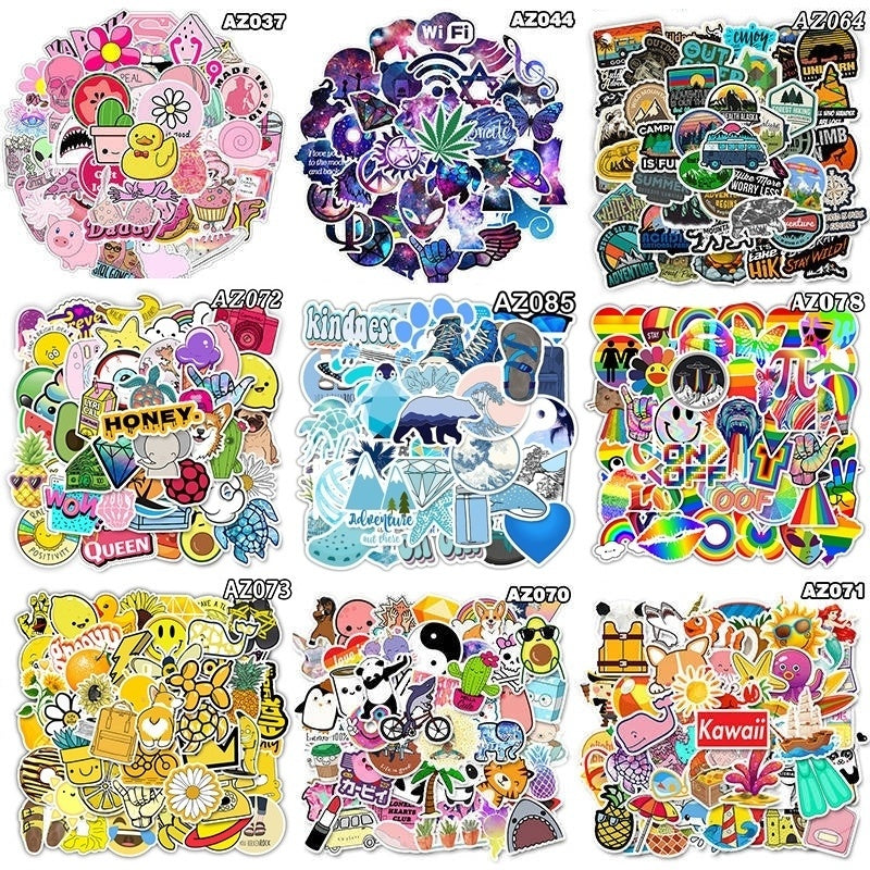 50Pcs Fashion Fresh Summer Cartoon Stickers Graffiti Sticker Pack Cute Stickers Laptop Sticker Fashion Style Waterproof Computer Skin Refrigerator Mixed Decals Stickers