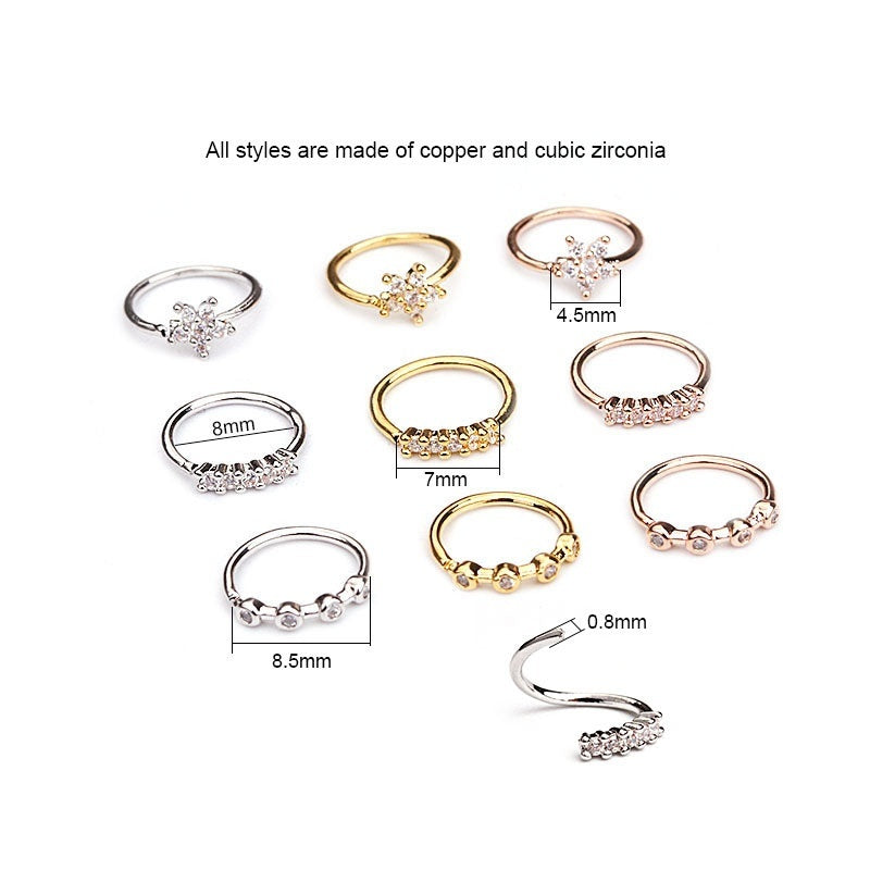 1/3PCS 20g Nose Piercing Jewelry Cz Nose Hoop Nostril Ring Flower Helix Cartilage Tragus Earring Silver And Gold Color