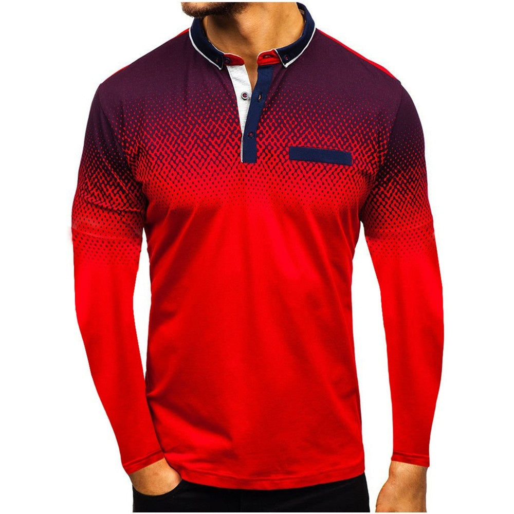 New Autumn Men 's Casual T Shirt Fashion 3D Printed Slim Fit Lapel Long Sleeve Tops 5 Colors 5 Size