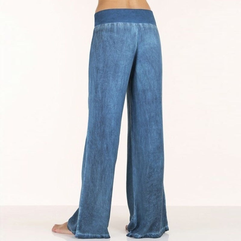 Large Size Women's Casual Pants Thin Jeans Wide Leg Pants Trousers