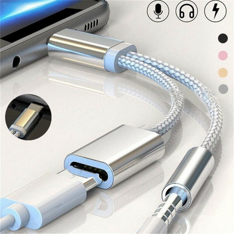 2 In 1 Type C Charging Audio Cable USB-C To 3.5mm Aux Audio Jack Headphone Adapter Cables