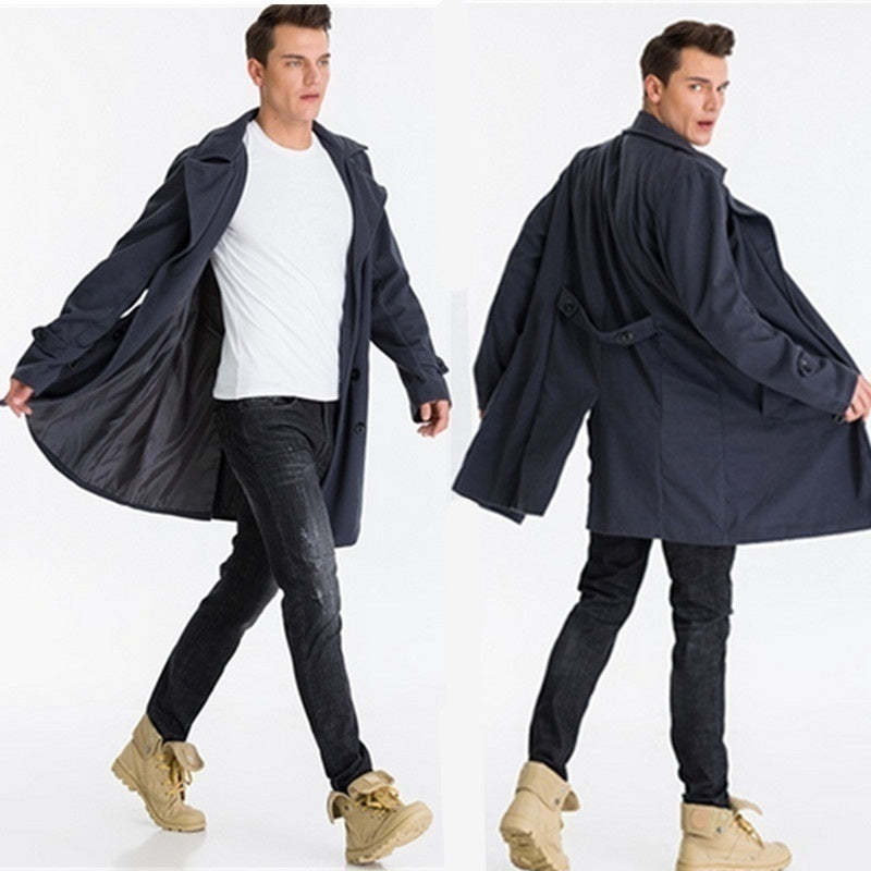 Men's Fashion New Autumn Trench Coat Winter Long Jacket Double Breasted Overcoat Woolen Coats